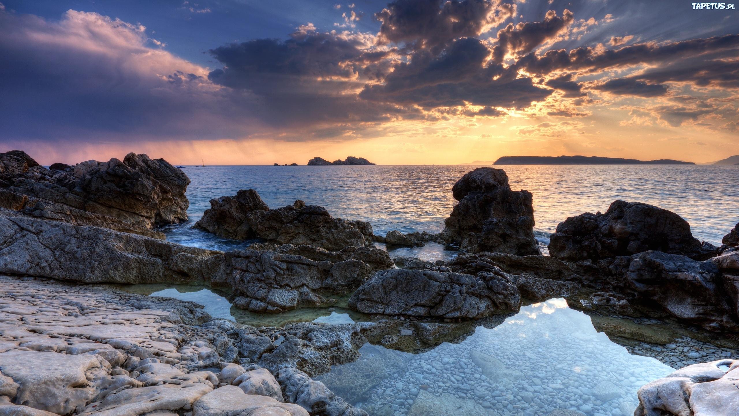 закат камень берег море sunset stone shore sea  № 1023765 бесплатно