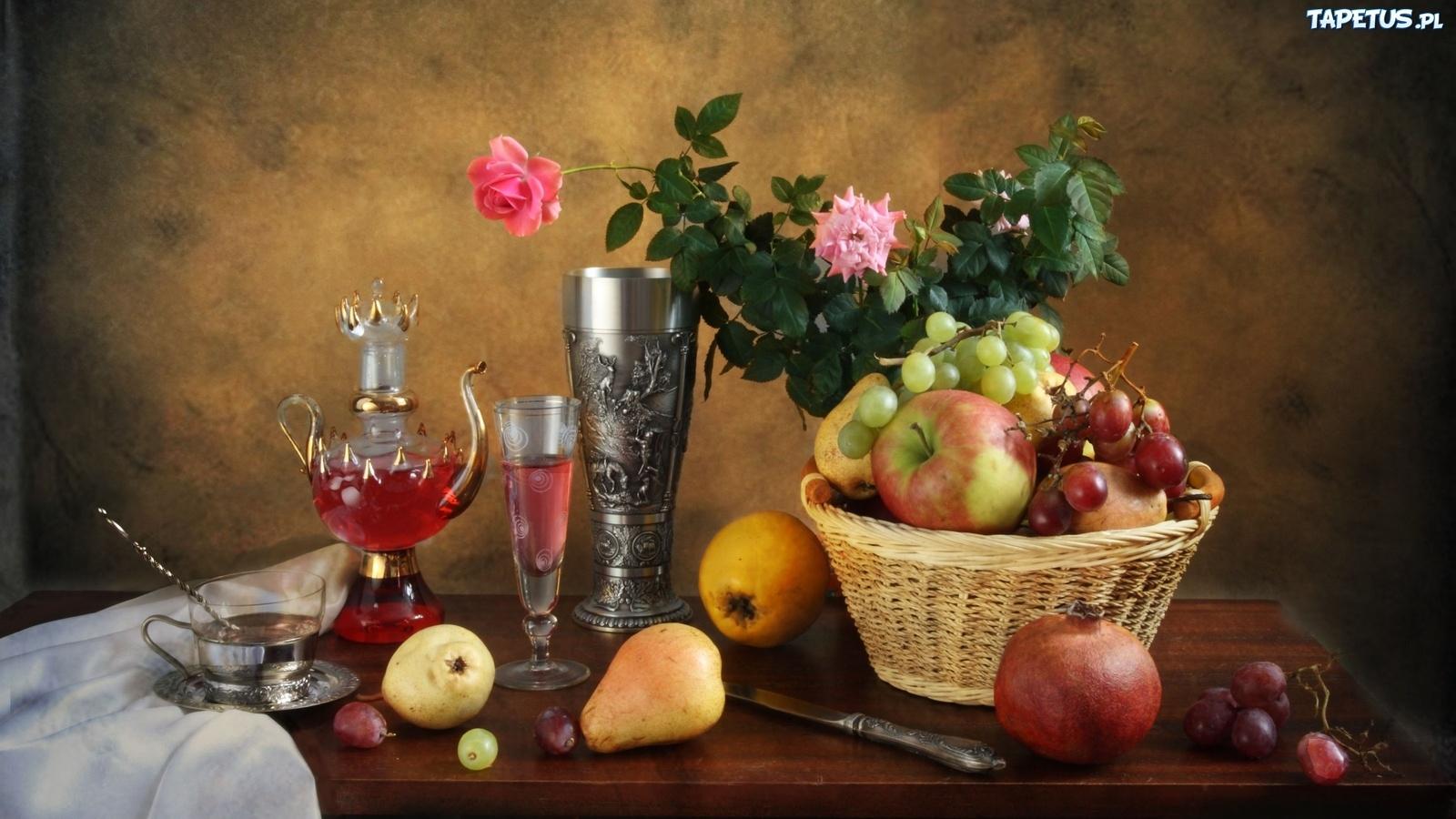 обои на рабочий стол натюрморт с цветами и фруктами № 226455 без смс