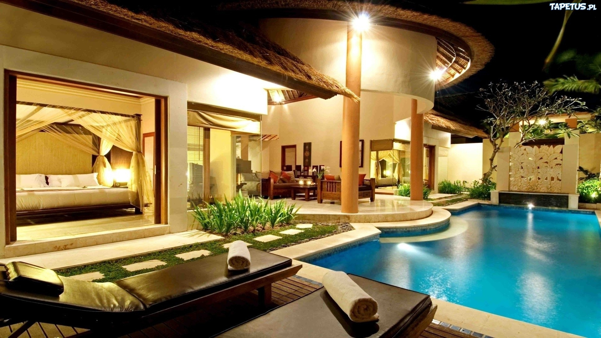 обои на рабочий стол красивые дома с бассейном № 252115 бесплатно