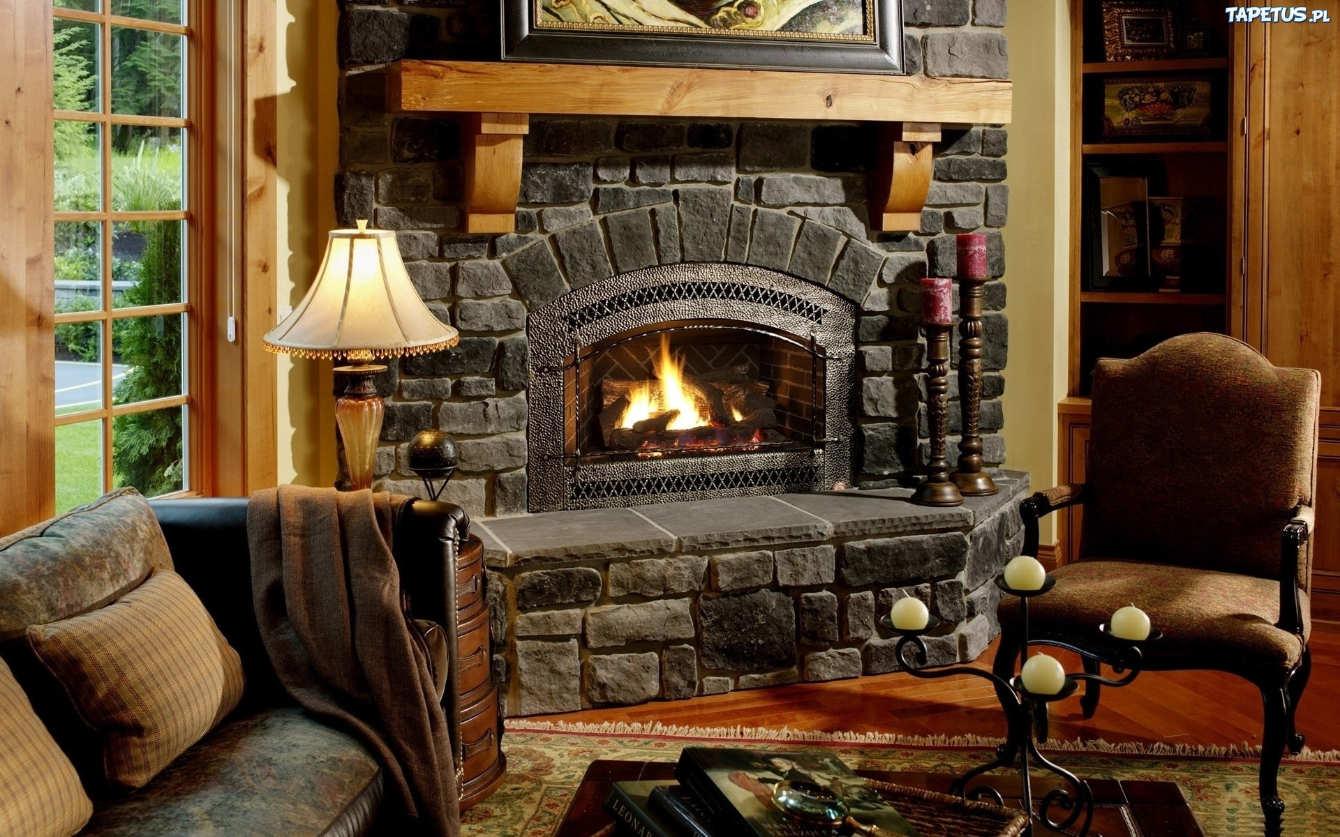 Wn trze pokoju go cinnego kominek meble - Beautiful stone fireplaces that rock ...