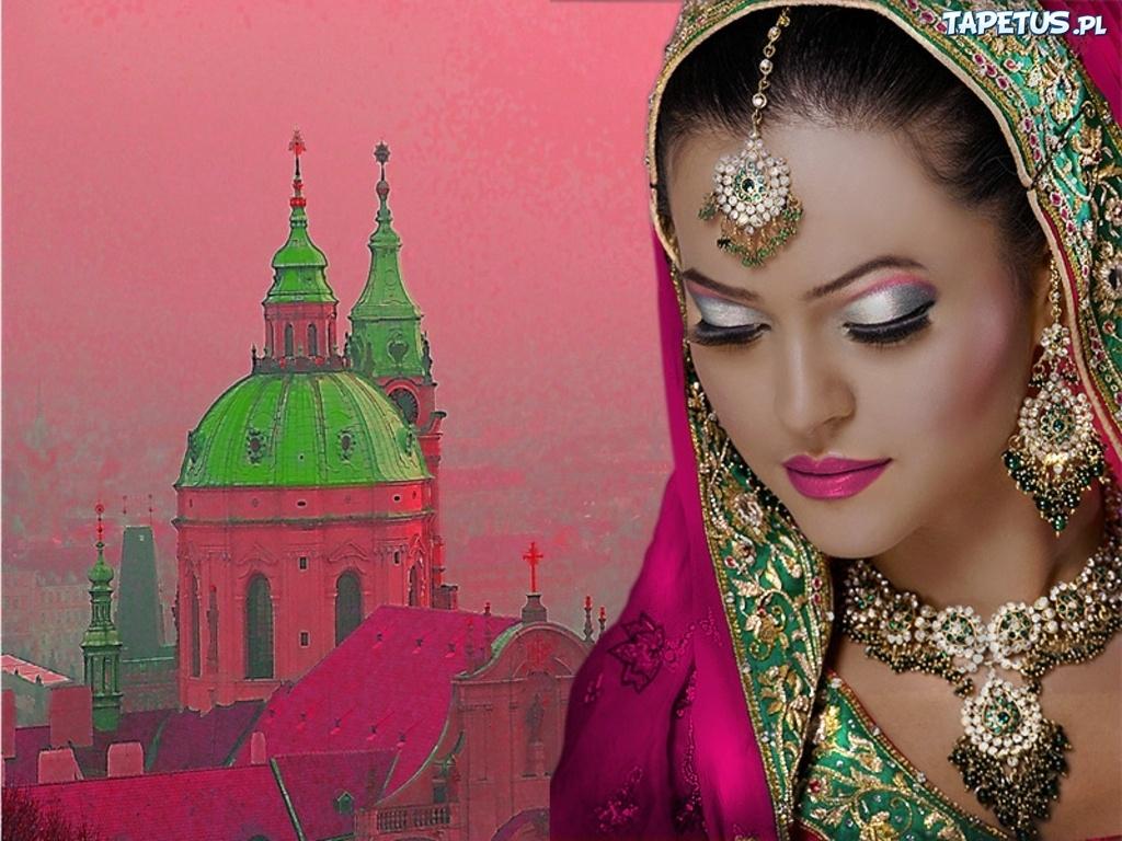 Kobieta, Makijaż, Kościół, Indie