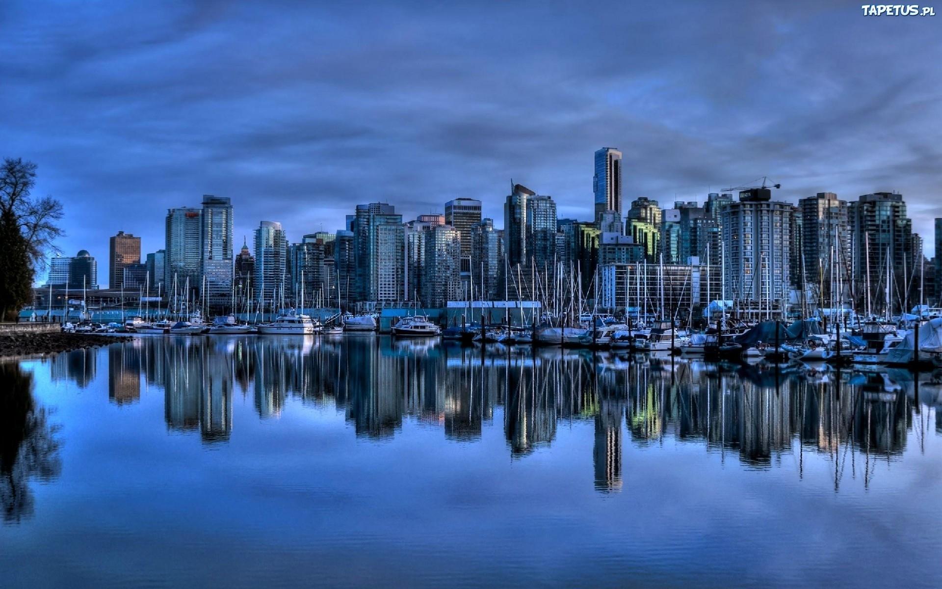 Tapeta miasto, niebieski, port, kanada