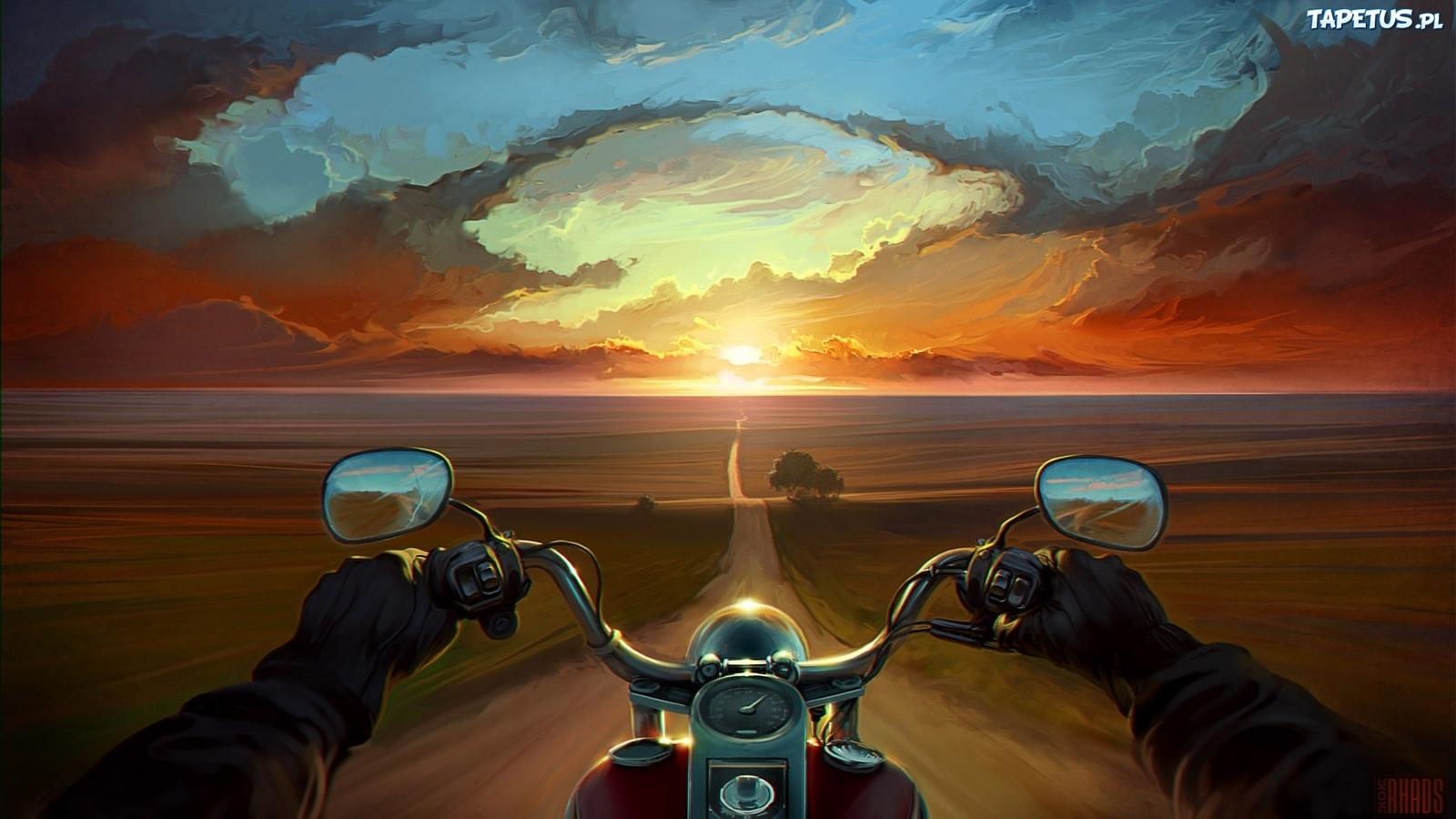 Tapeta obraz droga motocykl zachód słońca
