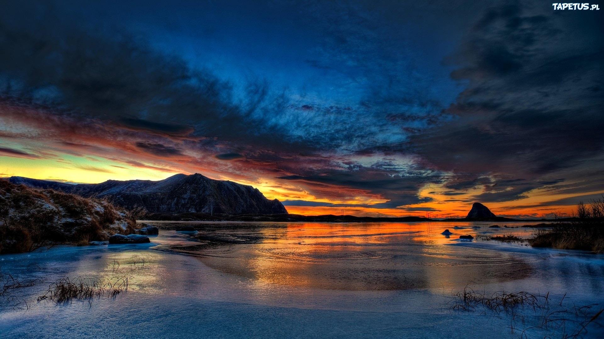 закат, скалы, озеро  № 661873 загрузить