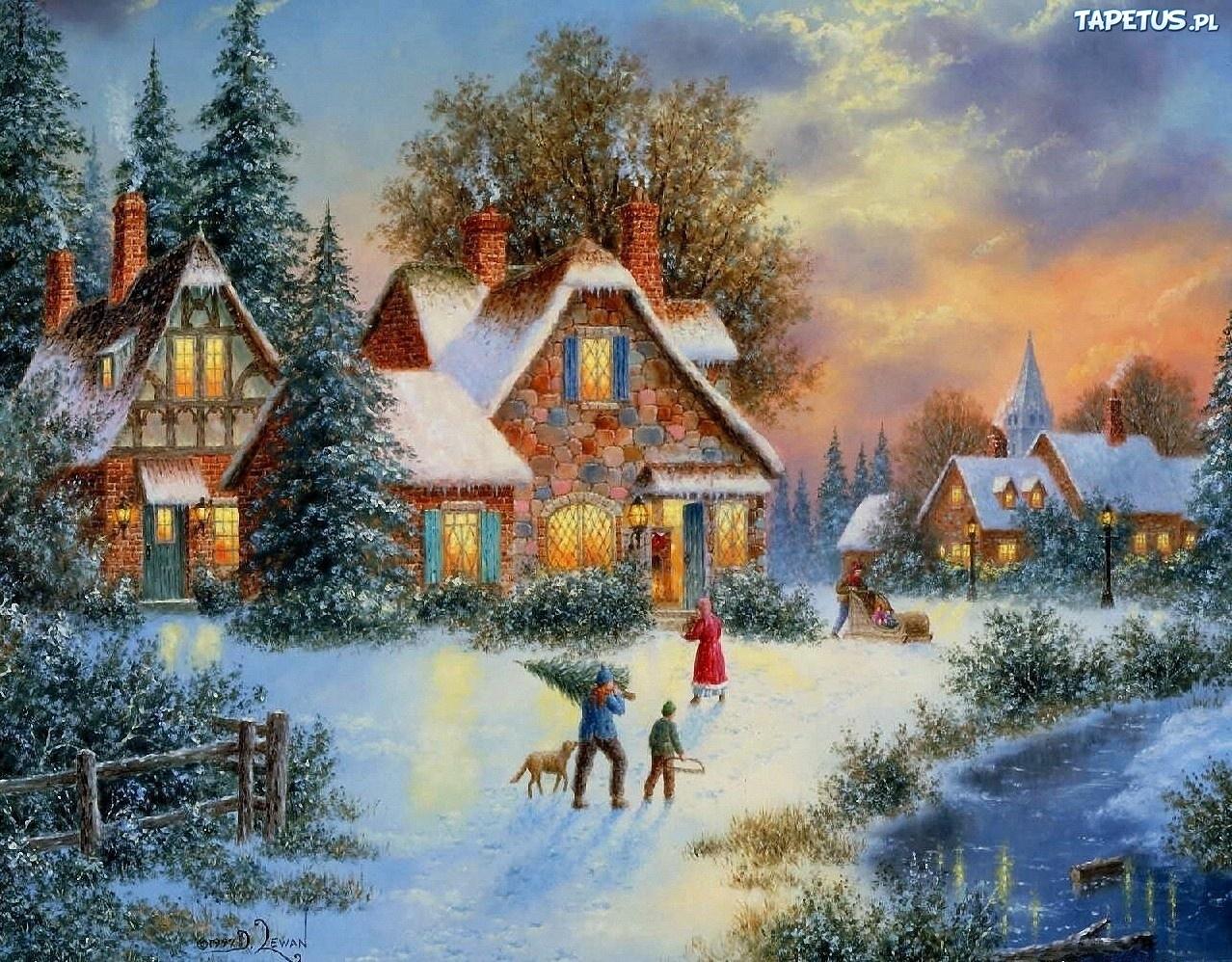 Зима рисунки у дома в городе 6