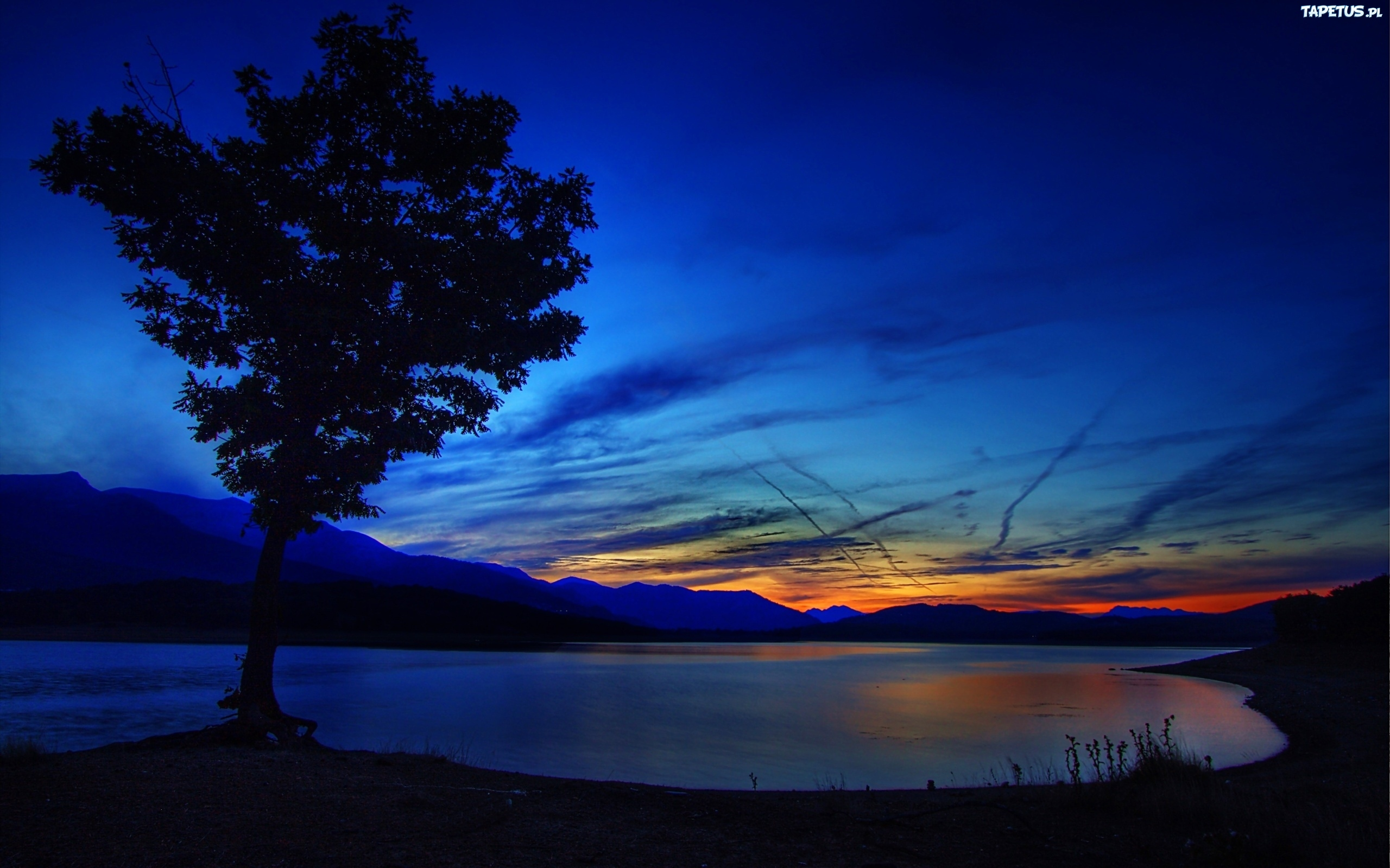 природа озеро деревья небо облака закат  № 1249594 без смс