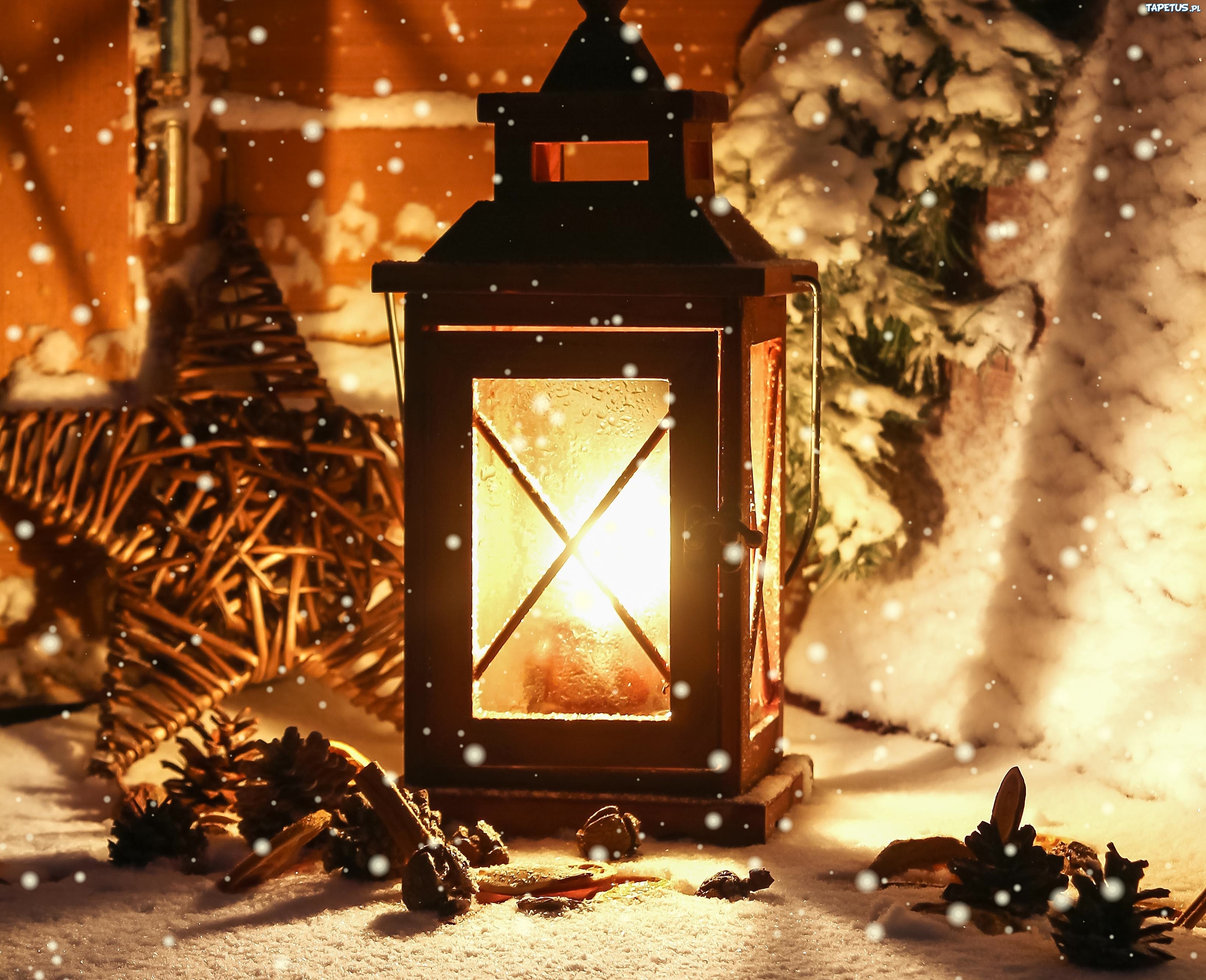 лампа свеча снег рождество lamp candle snow Christmas  № 3982717  скачать