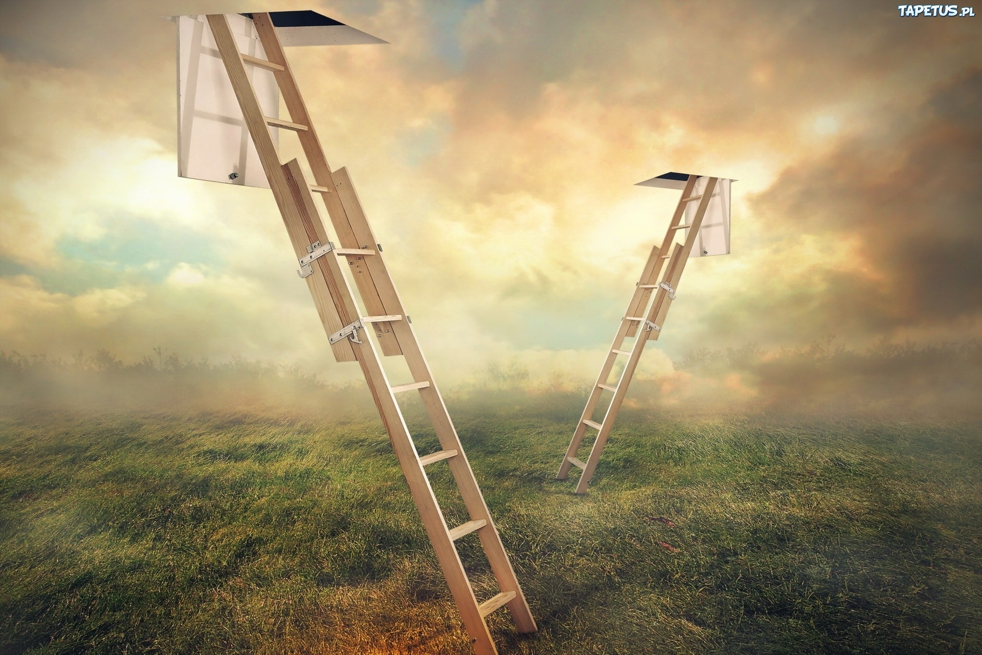 Обои для рабочего стола лестница в небо