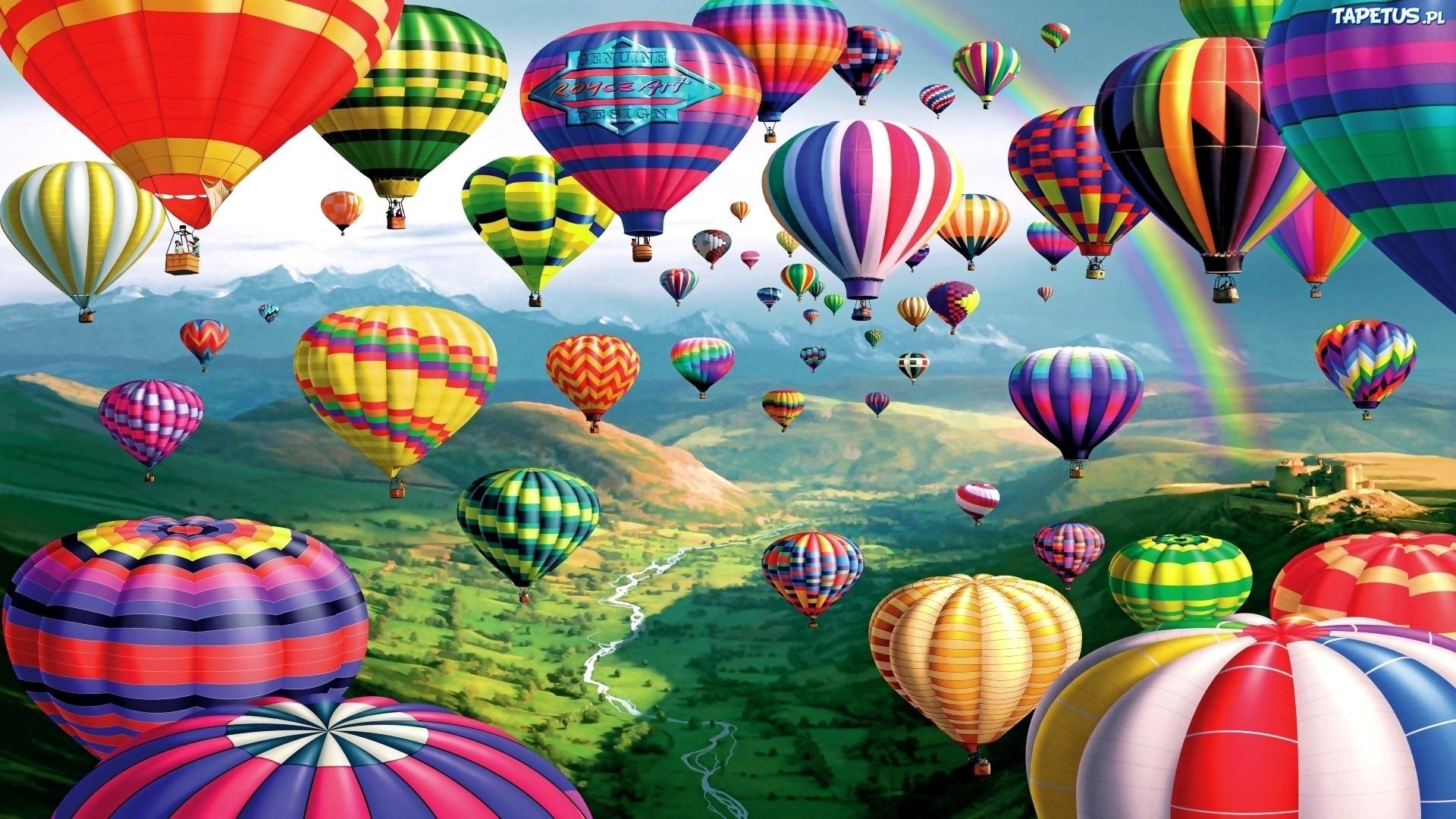 природа деревья архитектура мост воздушные шары аэростаты nature trees architecture the bridge air balls balloons  № 2627697 загрузить