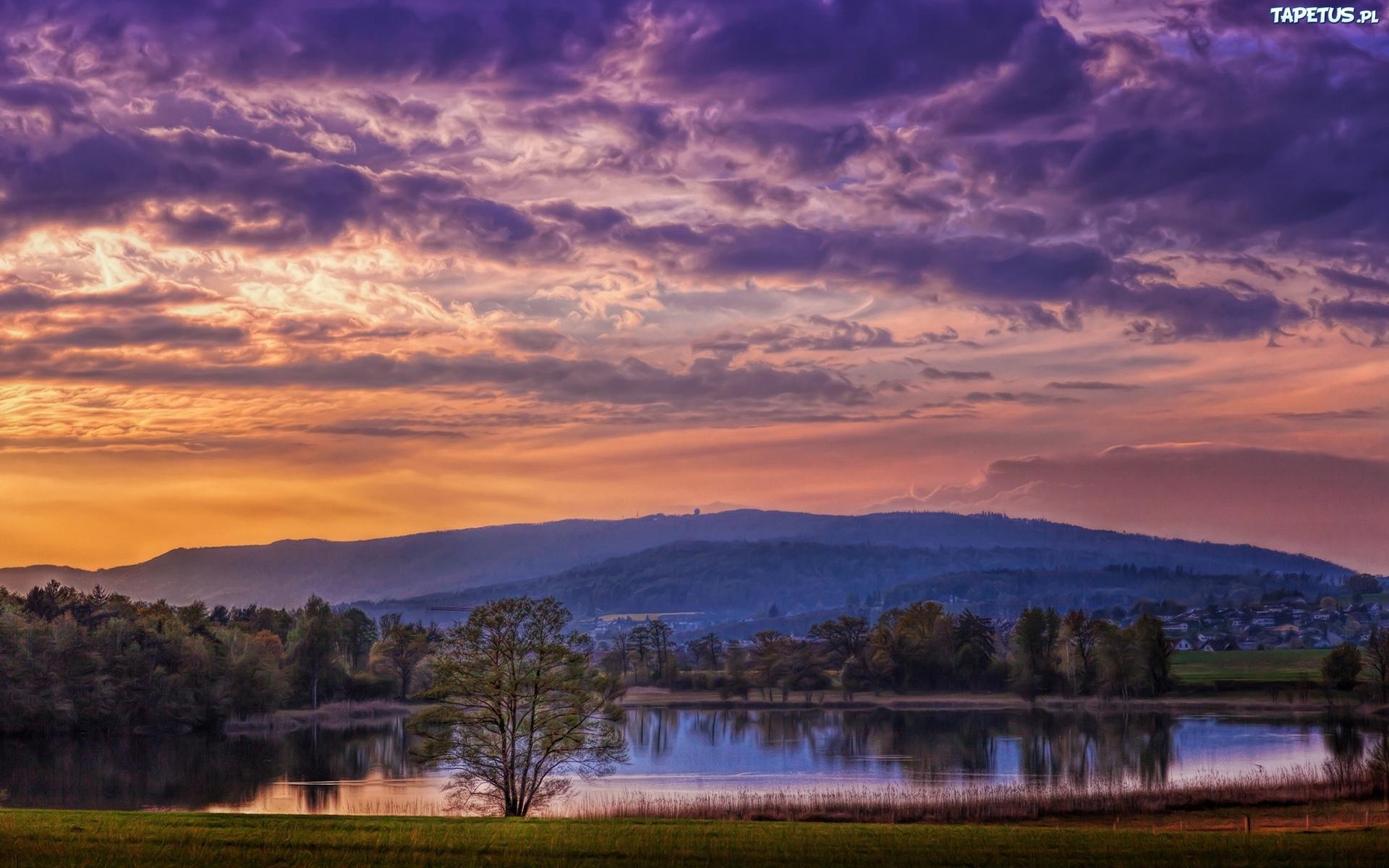 холмы озеро небо закат пейзаж  № 2743151 без смс