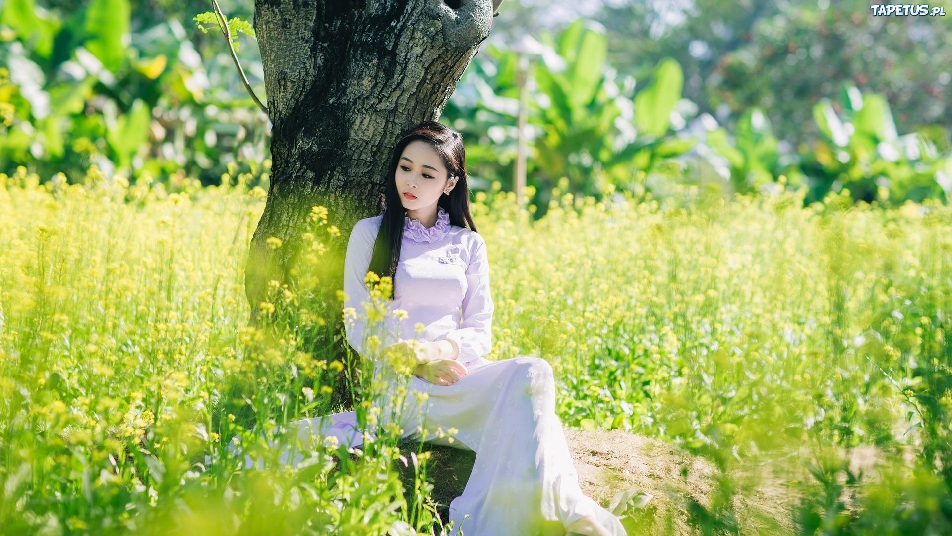 Wiosna Ka Kwiaty Kobieta Drzewo