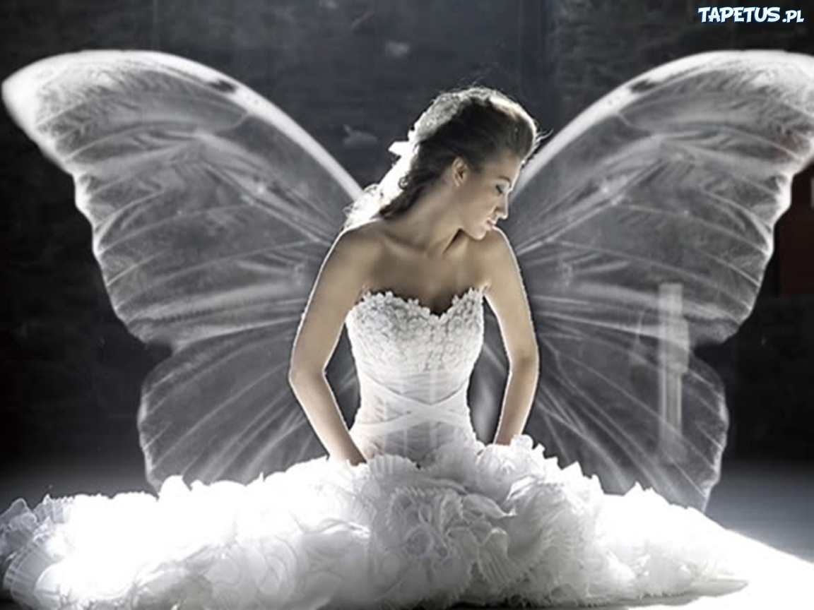 Kobieta anio bia a sukienka for Angel wings wedding dress