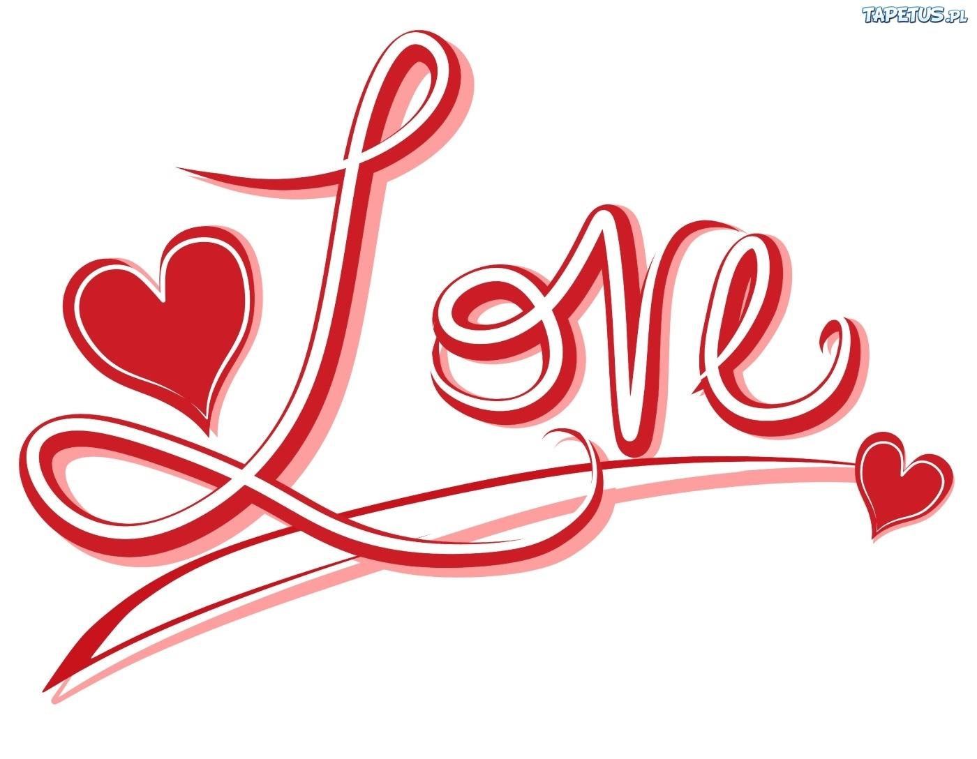 Czerwony, Napis, Love, Serduszka