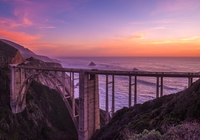 Most Bixby Creek Bridge, G?ry, Morze, Zach?d s?o?ca, Region Big Sur, Kalifornia, Stany Zjednoczone