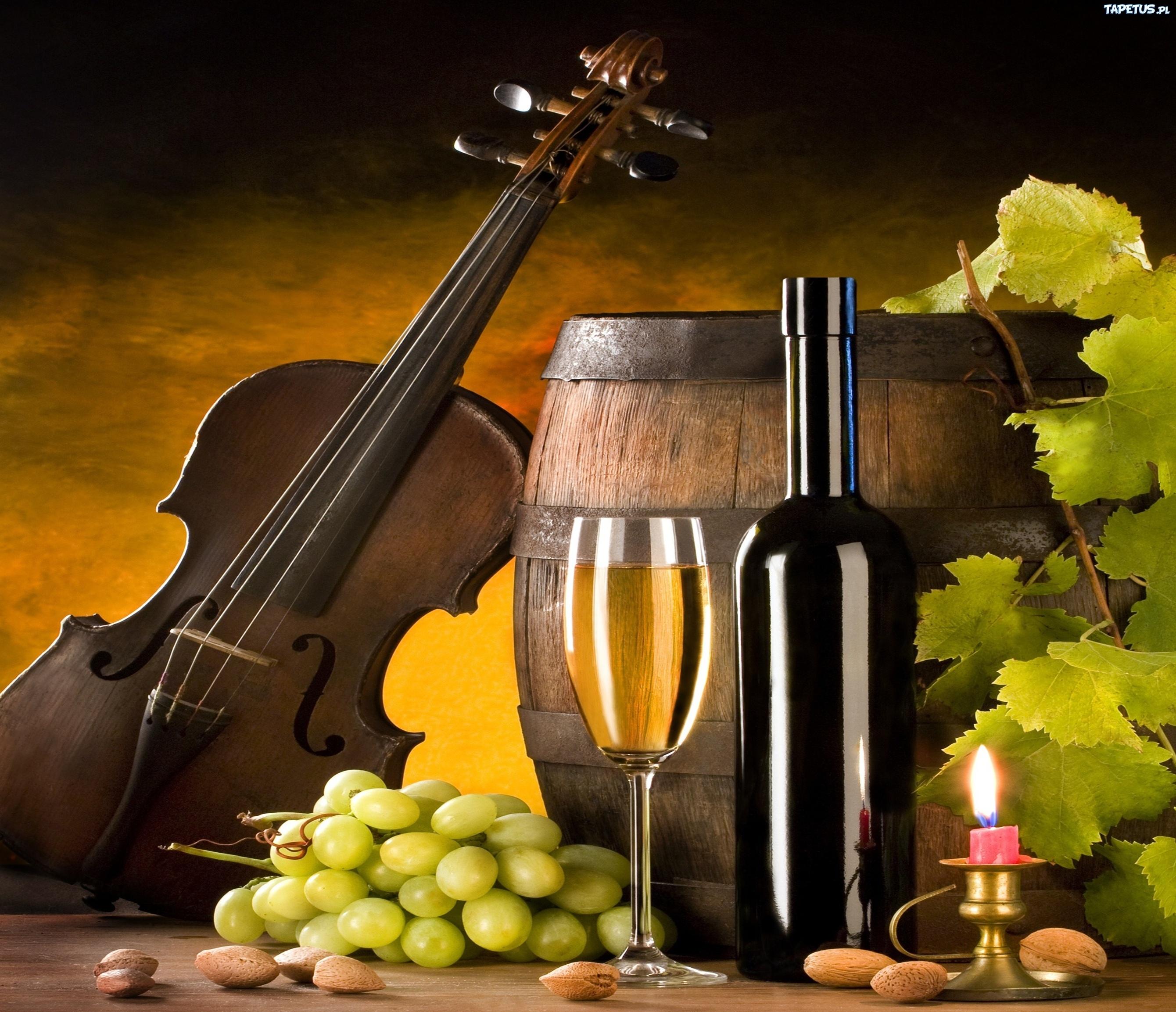 вино, бочка, скрипка, виноград загрузить