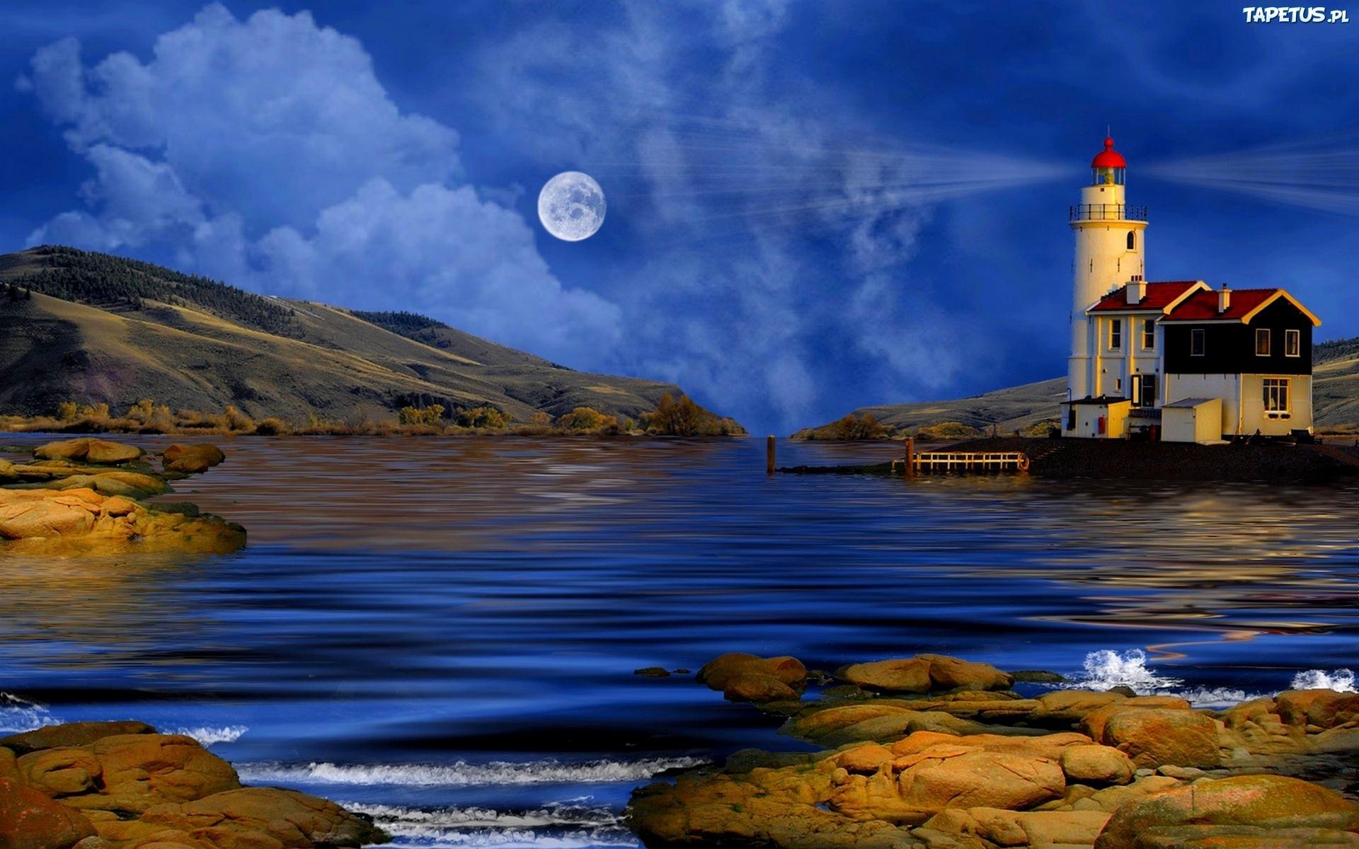 маяк озеро небо деревья загрузить