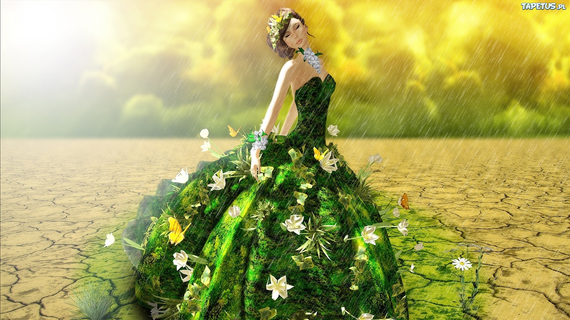 девушка зеленое платье велосипед цветы girl green dress bike flowers онлайн