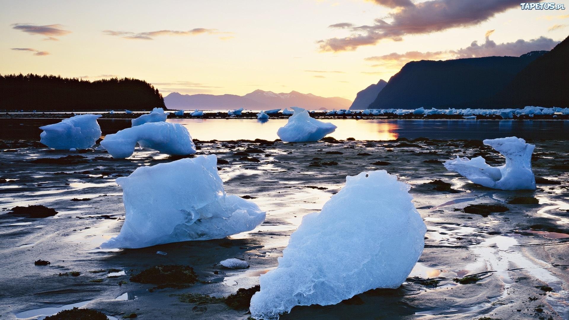 ледяные глыбы на закате загрузить