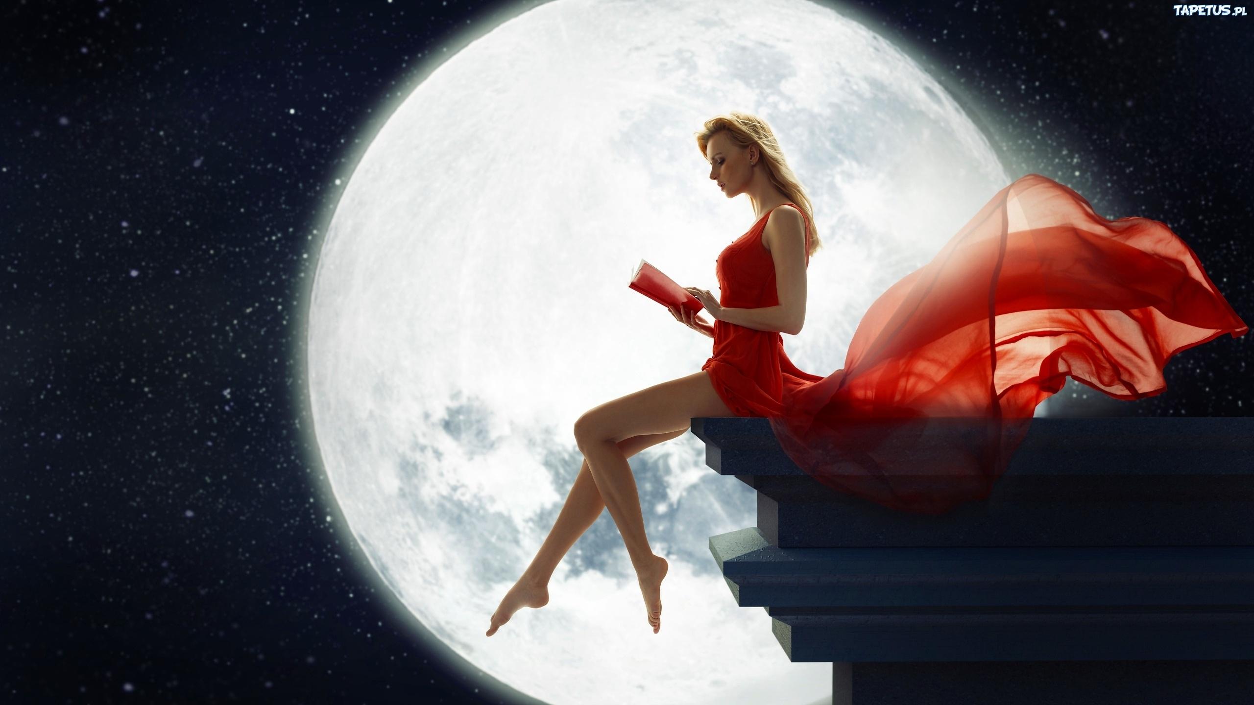 Grafika, Księżyc, Kobieta, Czerwona, Sukienka, Książka