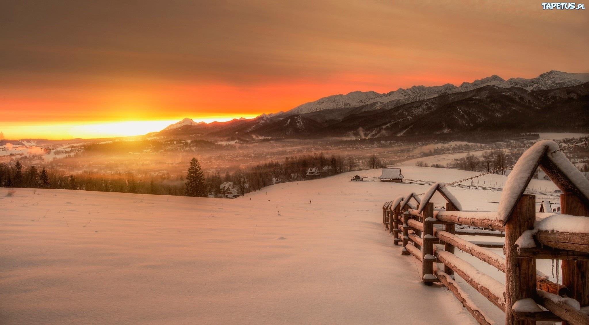 гора снег закат без смс