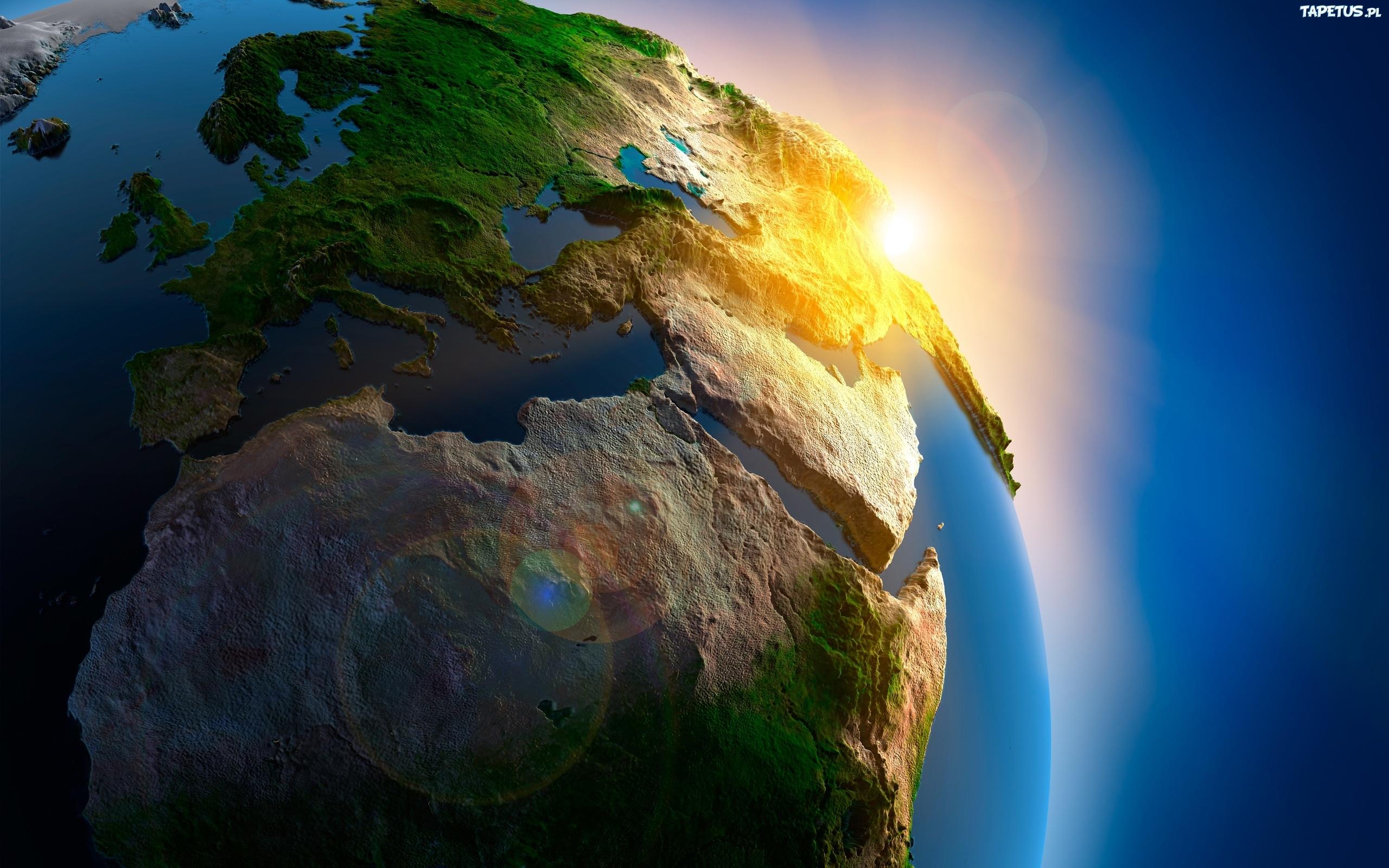 Ziemia Planeta Słońce Kontynenty