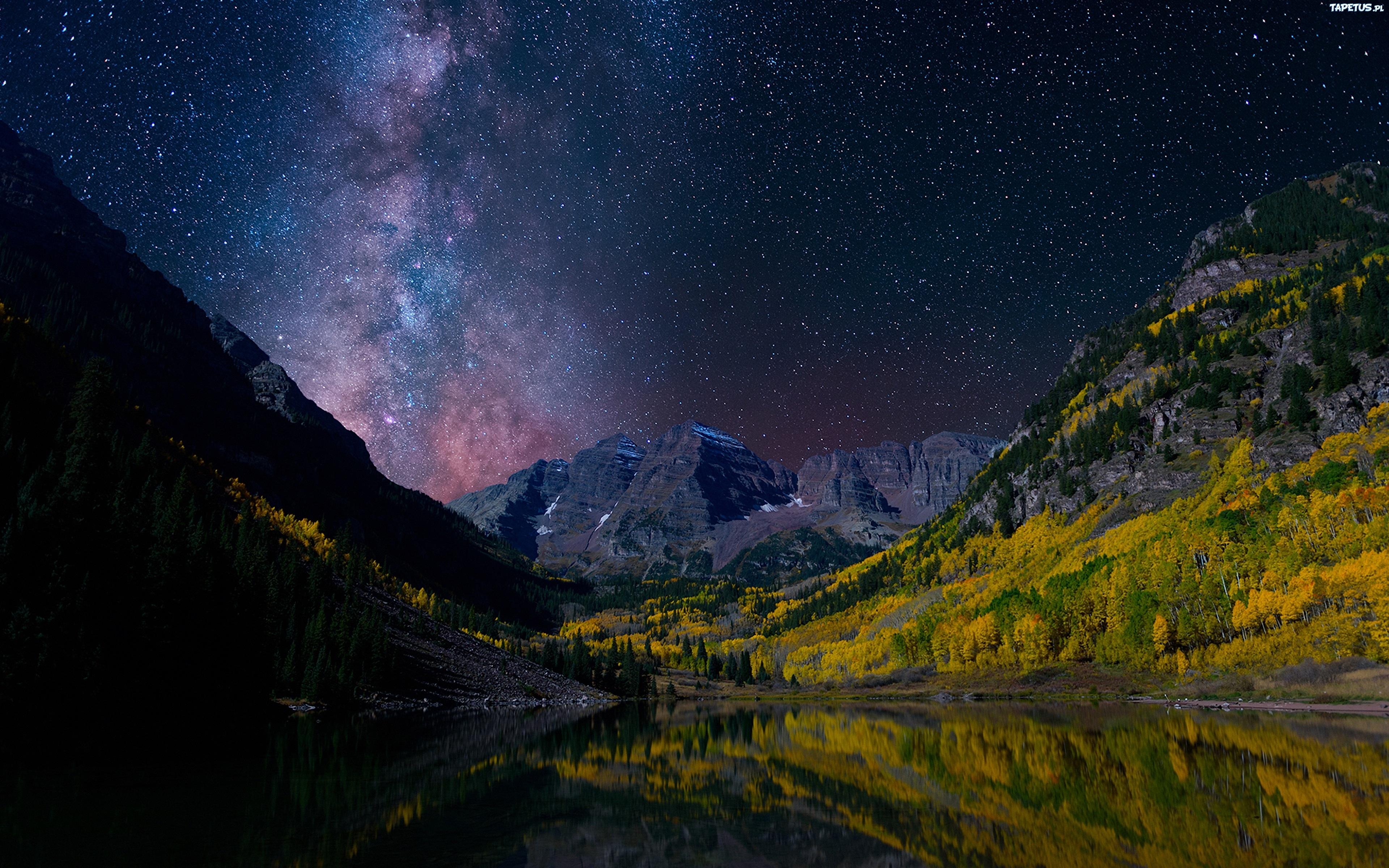 природа деревья озеро отражение гора ночь загрузить
