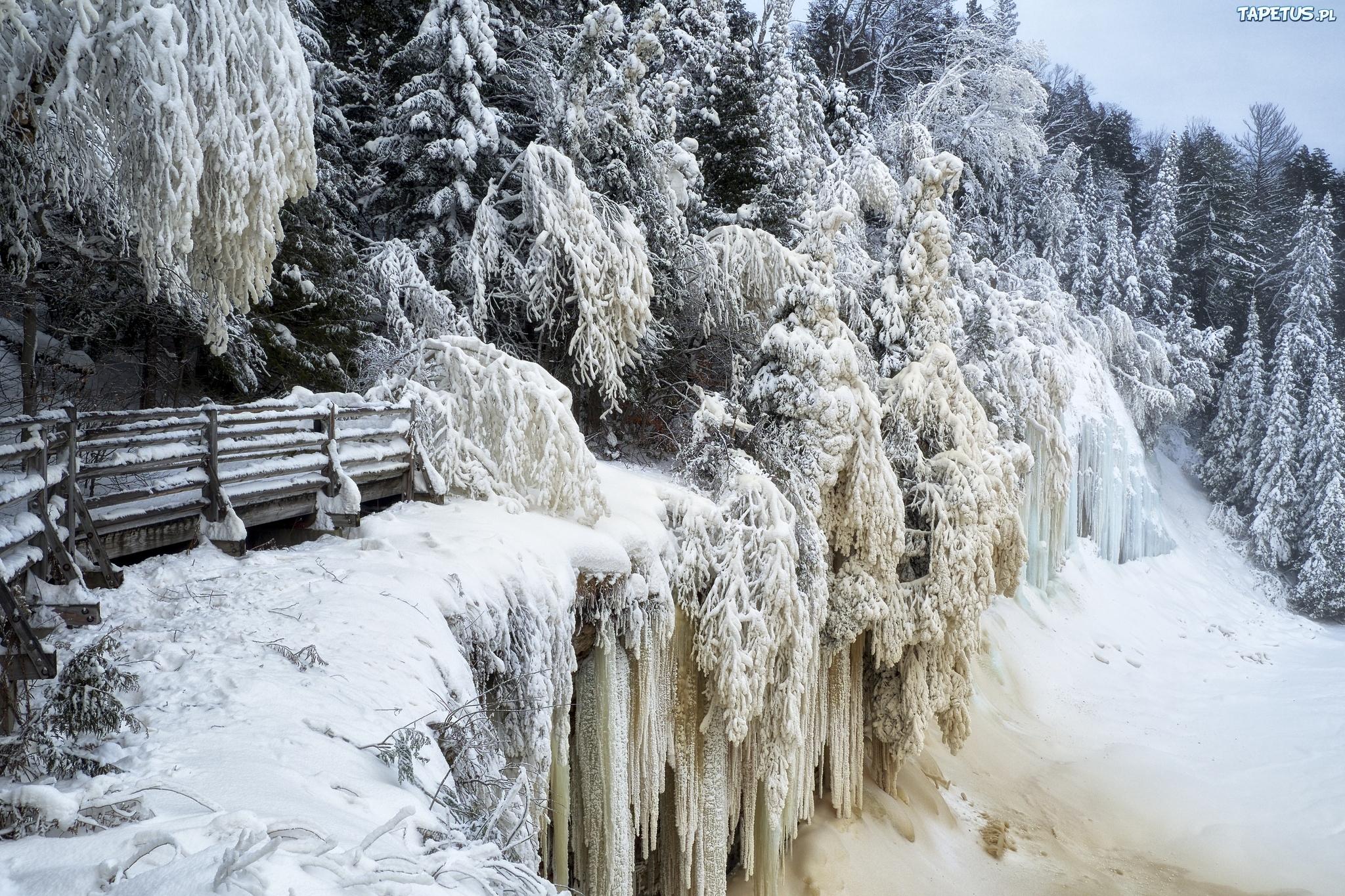 водопад снег лес waterfall snow forest скачать