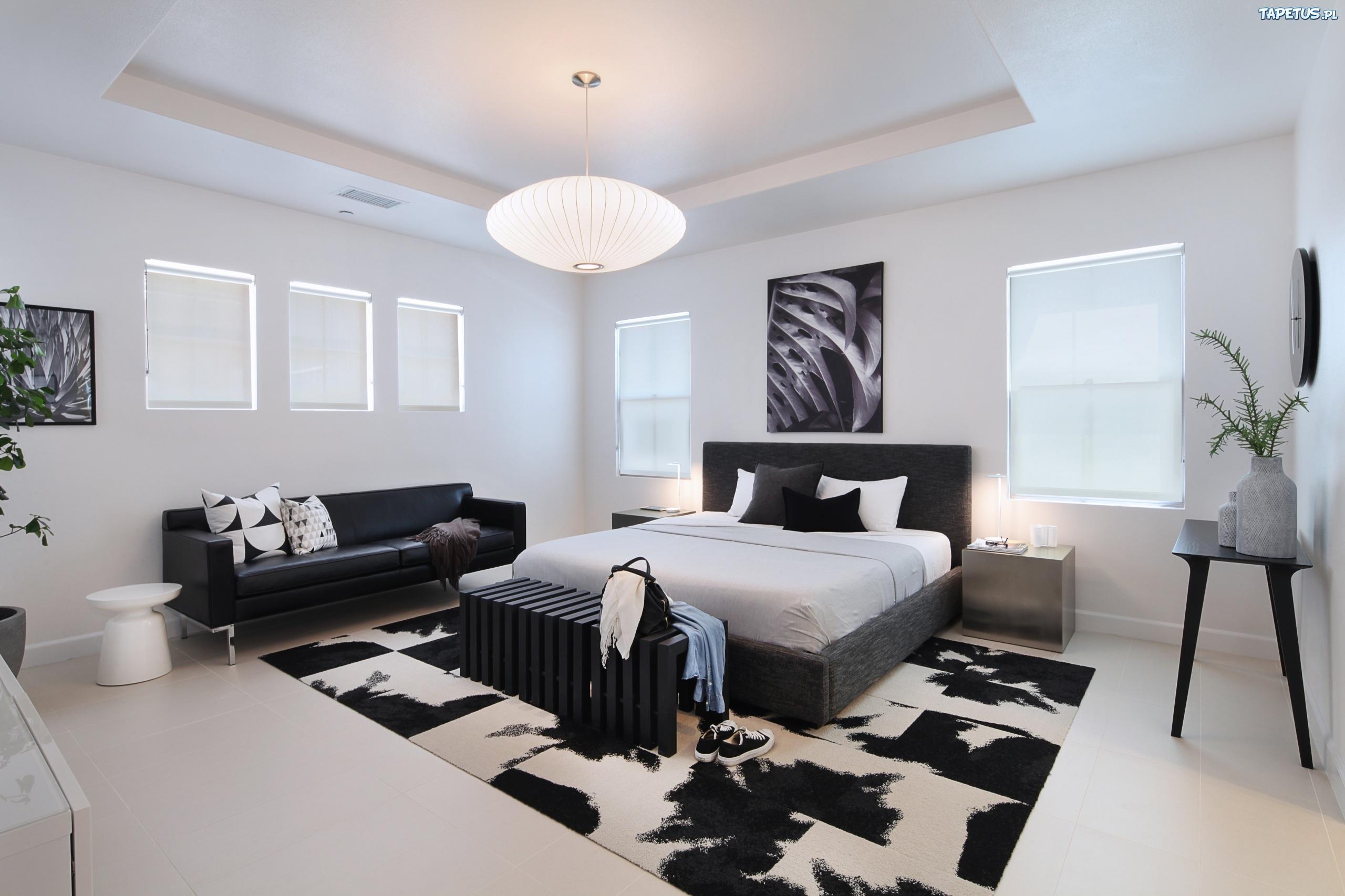 Czarno Biała Sypialnia łóżko Meble